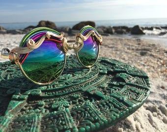 Rainbow Round Sunglasses, Festival Cosplay Costume Sunglasses, Retro Boho Hippie Bohemian Sunglasses Glasses, Every pair is a piece of art