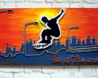 Skate Board Art Skateboard Wall Art Skateboard Signs String Art Quote Skateboard Poster Skate Signs Skateboard String Art Skating Wall Art
