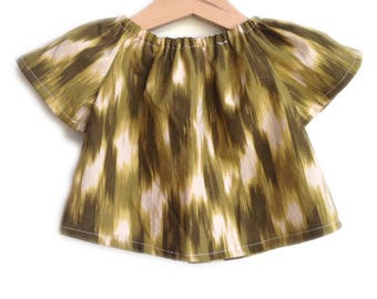Baby and Toddler Girl's Organic Painted Brushstroke Green Peasant Top
