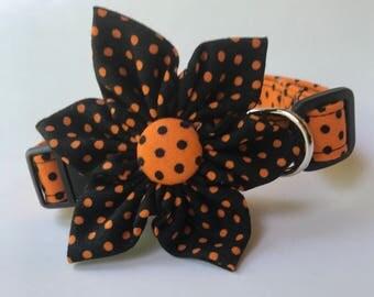 Halloween Dog Collar, Black Dog Collar, Polka Dot Dog Collar, Orange Dog Collar, Fall Dog Collar, Choose Dog Collar flower or Collar bow tie