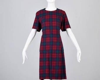 SALE Large 1960s Dress 60s Shift Dress Mod Short Sleeve Tartan Plaid Wool Shift Dress GoGo Scooter Fall Dress Casual Day Dress Woman Vintage