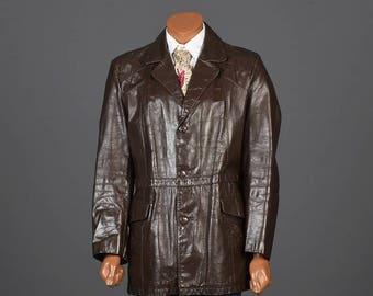 SALE Medium 1970s Leather Jacket 70s Hippie Boho Jacket Mens Leather Jacket Coat Vintage Brown Leather Jacket Blazer Vintage Man Jacket