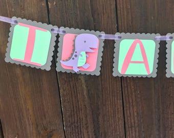 Pink/Purple/Mint Dinosaur Birthday Banner, dinosaur birthday, dinosaur party, pink dinosaur, Mint dinosaur