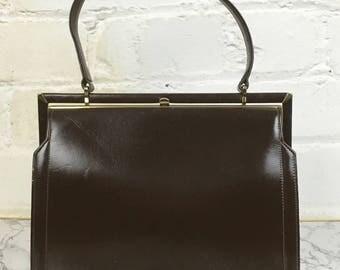 1950's 'Ackery' Brown Leather Bag, Vintage Handbag, Kelly Bag, Leather HandBag, Dark Brown Handbag. Made in England
