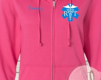 Women's Zip French Terry Hoodie RT Respiratory Therapist Therapy Sweatshirt Full Zip Jacket