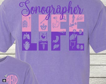 Monogrammed Customized Shirt Personalized Sonographer Ultrasound Tech Sonography