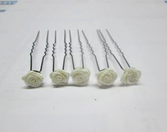 5 hair pins, bridal set of 5 ivory satin rose hair barrette