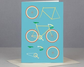 Yellow & Blue Fixed Gear Bicycle Card