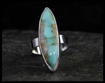 Royston ribbon turquoise adjustable ring, sterling silver 0.925, size US 6 and +, native style, Nevada turquoise, 232