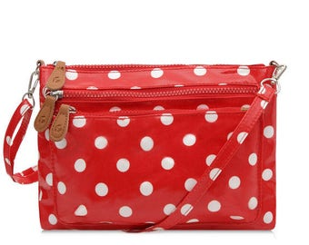 Multi Pocket Crossbody bag - Ladies Purse - Red Polka dot bag- Oilcloth bag- Satchel- Oil cloth Woman Handbag- Laminated cotton - Waterproof