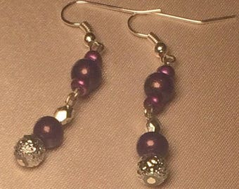 Purple and Silver Beaded Earrings