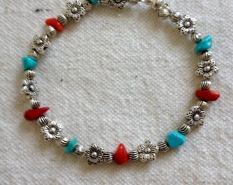 TIBETAN SILVER BRACELET, CORAL AND TURQUOISE