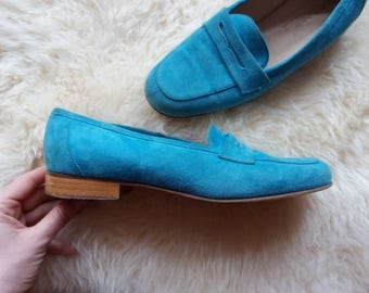 Blue Suede Shoes ~ Vintage 70s Suede Leather Loafers ~ Made in Italy ~ Gucci Style