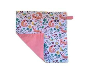 child's napkin reversible salmon. Gift for child