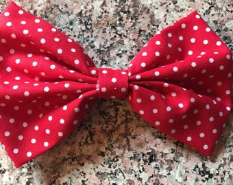 Red with White Polka Dot Bow