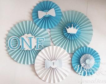 Set blue paper fans ONE boy party decor - paper fans backdrop - paper rosette 1st birthday boy room decor -pinwheel backdrop-blue little man