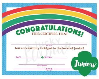 Girl Scouts Bridge to Juniors Certificate - Instant Download