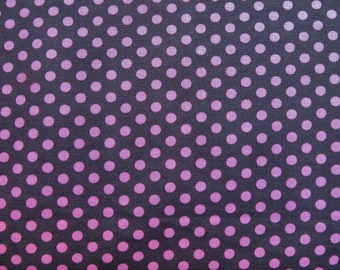 Cotton fabric, pink polka dots on dark background.