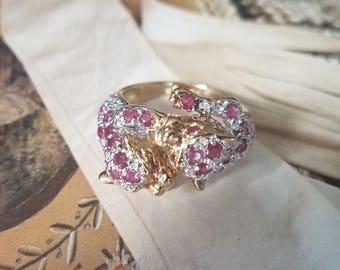 Diamond/Ruby Leopard Ring (size 7.5)