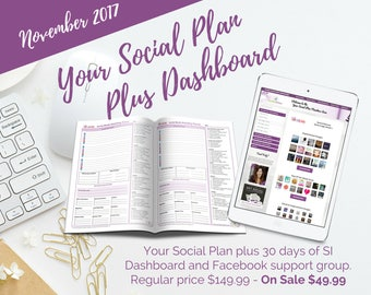 SALE**** Reg. 149.99 Social Media Planner with 30 day social dashboard, fb support group (90 post 70+ images) November Etsy Business Planner