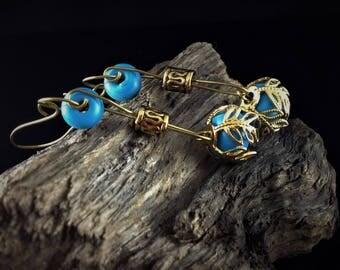 Custom Earrings - Lamp Work Blue Turquoise Beads on Bronze