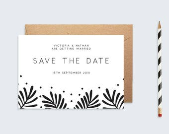 Save The Date Botanical Leaf  |  A6 Printable Save The Date  |  Wedding Stationary