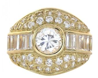 3.00 Carat Cubic Zirconia 14K Yellow Gold Ring