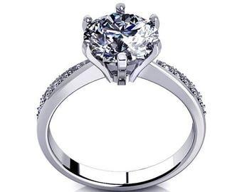 ON SALE D/Vvs1 Diamond Engagement Ring 2 Carat Round Cut 14k Yellow/White Gold Bridal Jewelry