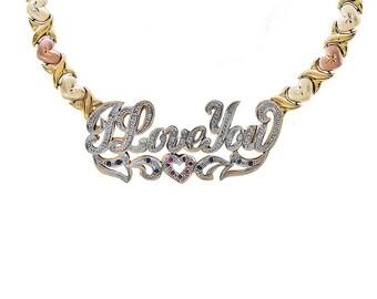 Diamond, Ruby & Sapphire 'I Love You' Nameplate XOXO Necklace 14K Tri-Tone Gold