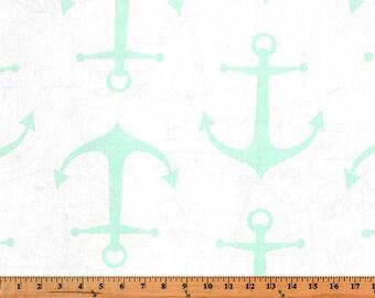 Premier Prints Fabric   Mint Anchors   Designer Fabric   Upholstery Fabric   mint fabric   Fabric by the yard   sailor fabric