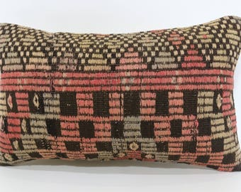 Embroidered Kilim Pillow Sofa Pillow Turkish Kilim Pillow 12x20 Anatolian Kilim Pillow Boho Pillow Cushion Cover SP3050-1458
