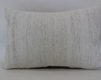 White Kilim Pillow Flat Woven Kilim Pillow 16x24 Lumbar Kilim Pillow Bedroom Pillow Decorative Kilim Pillow Sofa Pillow SP4060-812