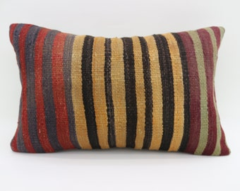 16x24  Pillow Cover Striped Kilim Pillow Multicolor Kilim Pillow Throw Pillow Boho Pillow 16x24 Kilim Pillow Faded Kilim Pillow SP4060-1379