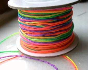 100 meters of thread nylon multicolor neon 1 mm in diameter and shamballa Rainbow creations