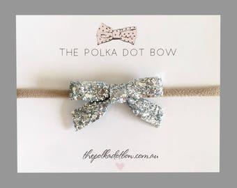 Baby Headbands | Toddler Headbands | Glitter Baby Headband | Baby Headband | Glitter Baby Bows | Silver Baby Headband | Silver Glitter Bow