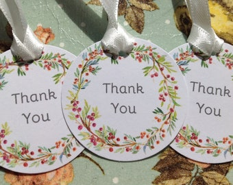 Wedding favor Small Floral Wreath Labels Tags Thank You Tags Wishing Tree Tags Shabby Chic party tags Pack of 20