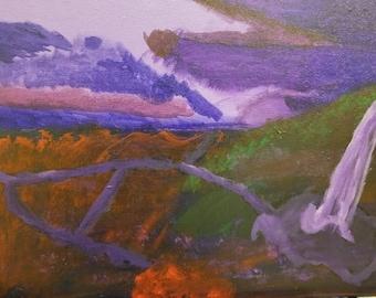 Purple Waterfall Painting