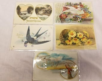 Lot of 5 birthday imbossed  postcards antique 1910-1913