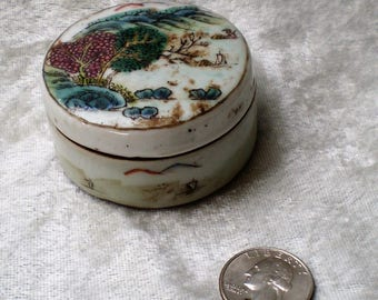 Early Chinese Dynasty Pottery Porcelain Lidded Jar-1800's