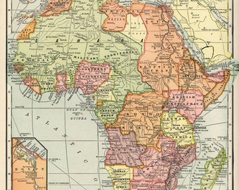 Multicoloured Vintage Africa Map Poster