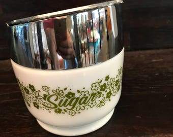 Vintage Gemco Sugar Dispenser- Retro Sugar Bowl, Silver Toned Lid- Whie Glass with Olive Green Floral Design-Mid Century serving