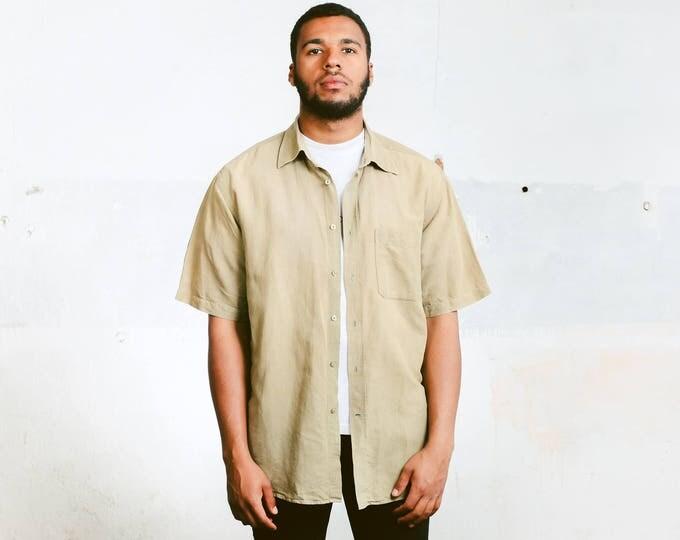 Men Linen Shirt . Vintage 90s Short Sleeve Beige Shirt Linen Shirt Casual Summer Top Vacation Shirt . size Extra Large XL