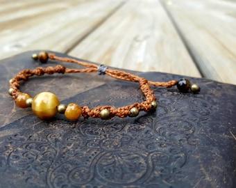 3 Yellow Tigers Bracelet. Macrame bracelet. Boho bracelet. Hippie bracelet. Handmade bracelet. Woven bracelet. Gemstone bracelet.