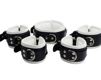 Fightset black / white synthetic leather