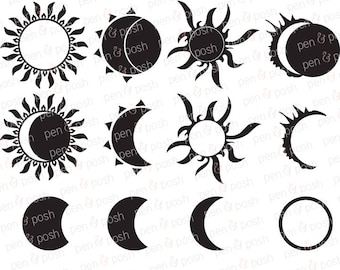 Svg - Solar Eclipse SVG - Eclipse SVG - 2017 Eclipse - Sun SVG - Silhouette Svg - Sun and Moon Svg - Dxf -   - Solar Eclipse 2017