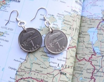 Latvia coin earrings - made of original coins from Latvia - wanderlust - globetrotter - fish