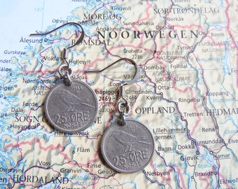 Norway coin earrings - 3 different designs - made of coins from Norway - wasp - bird - curved