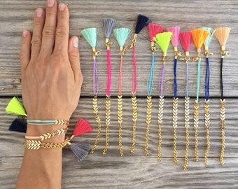 OOAK fishbone bracelet in beautiful strong colors