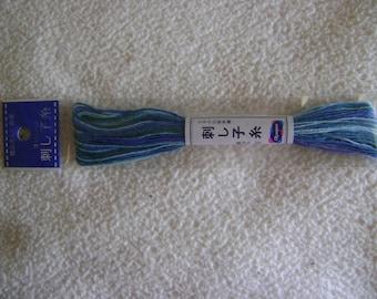 Sashiko Embroidery Thread/SkyBlue, Jewel Green, Aqua Variegated/22 yds
