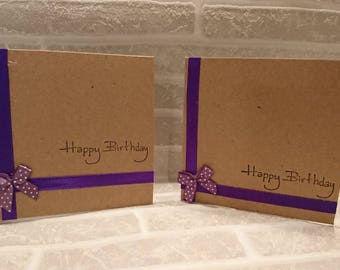 Happy Birthday Purple Ribbon Cards